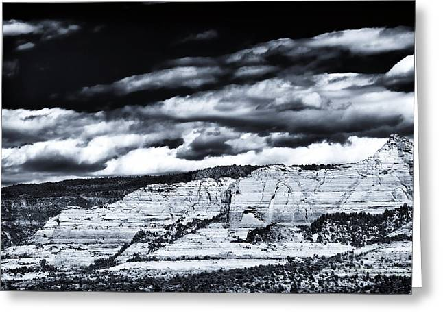 Red Rocks Of Sedona Greeting Cards - Portrait of a Rock Greeting Card by John Rizzuto