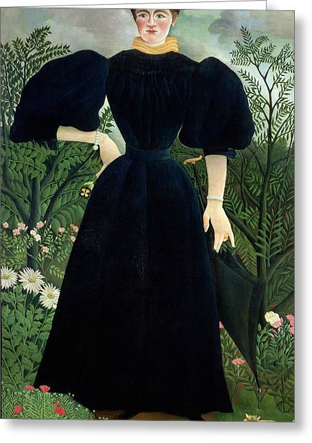Ground Greeting Cards - Portrait of a Woman Greeting Card by Henri Rousseau