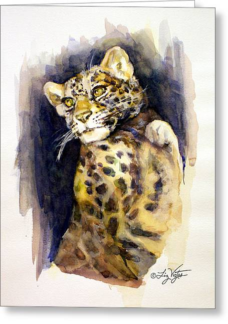 Liz Viztes Greeting Cards - Portrait of a Young Snow Leopard Greeting Card by Liz Viztes
