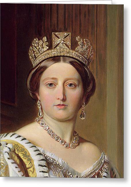 Jewellery Greeting Cards - Portrait of Queen Victoria Greeting Card by Franz Xavier Winterhalter