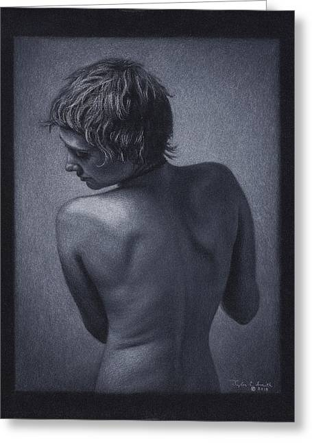 Black And White Photos Pastels Greeting Cards - Posterior Nude Greeting Card by Tyler Smith