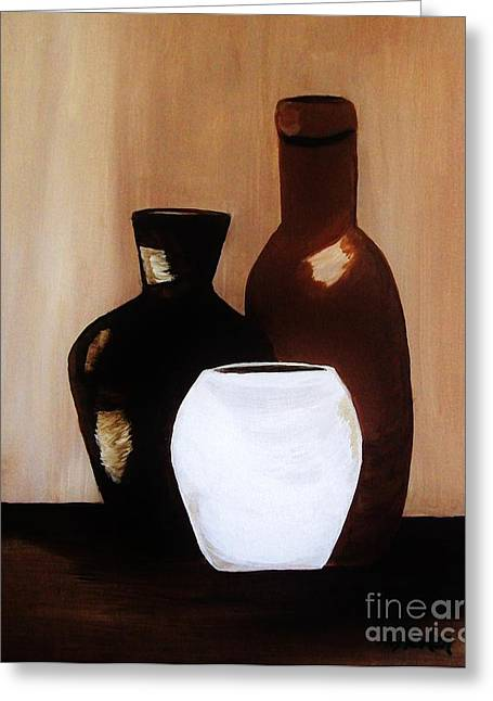 Brown Tones Greeting Cards - Pottery from Portugal  Greeting Card by Marsha Heiken