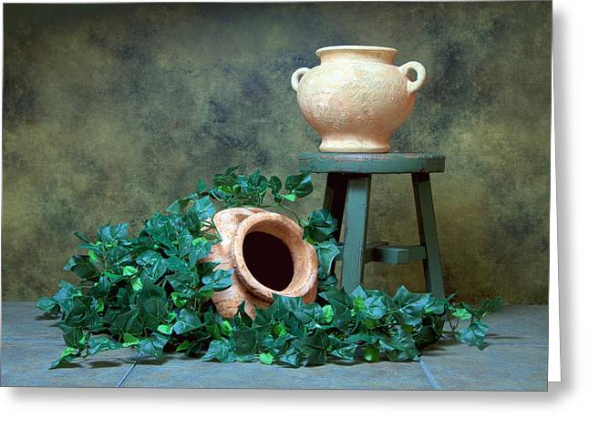 Container Greeting Cards - Pottery With Ivy I Greeting Card by Tom Mc Nemar