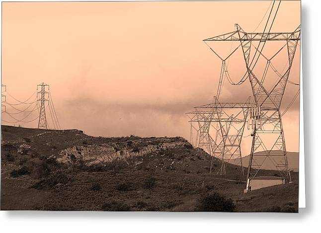 Power Lines Greeting Card by Viktor Savchenko
