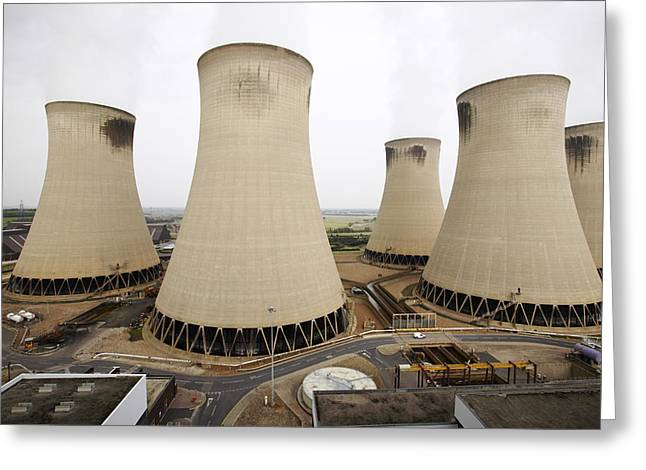 Most Photographs Greeting Cards - Power Station Cooling Towers Greeting Card by Colin Cuthbert