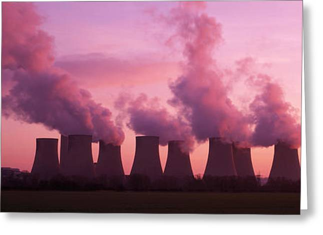 Carbon Emissions Greeting Cards - Power Station Cooling Towers Greeting Card by Jeremy Walker