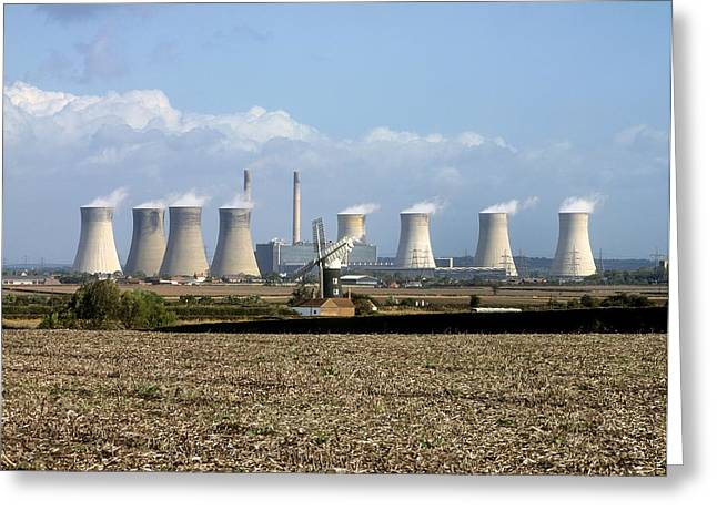 Burton Greeting Cards - Power Station Cooling Towers Greeting Card by Martin Bond