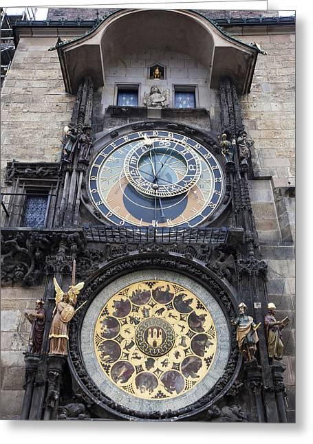 Medieval Clock Greeting Cards - Prague Astronomical Clock Greeting Card by Andre Goncalves