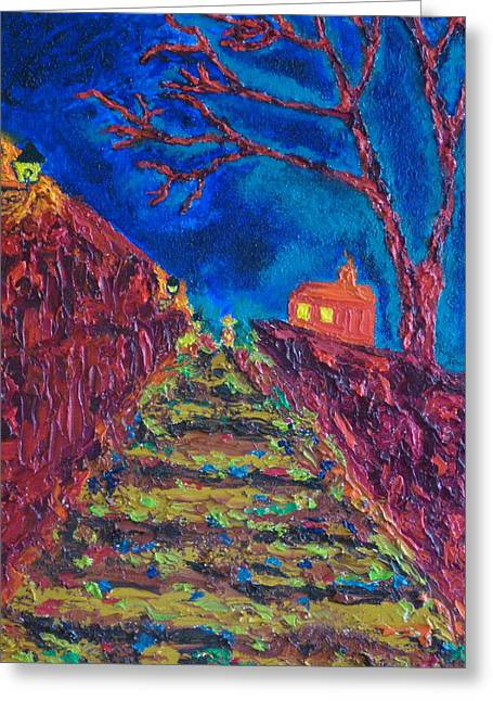 Prague Paintings Greeting Cards - Prague Castle At Night Greeting Card by Peter Silkov