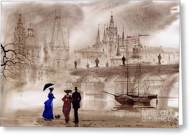 Prague Paintings Greeting Cards - Prague II Greeting Card by Svetlana and Sabir Gadghievs