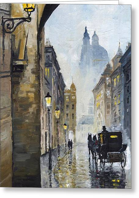 Europe Paintings Greeting Cards - Prague Old Street 01 Greeting Card by Yuriy  Shevchuk