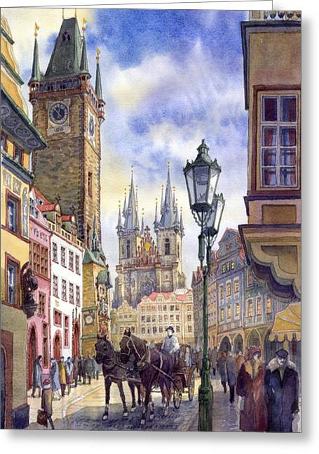 Old Light Greeting Cards - Prague Old Town Square 01 Greeting Card by Yuriy  Shevchuk