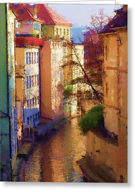 Praha Digital Art Greeting Cards - Praha Canal Greeting Card by Shawn Wallwork