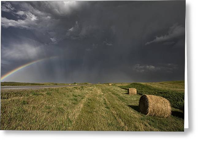 Country Lanes Digital Art Greeting Cards - Prairie Road Storm Clouds Greeting Card by Mark Duffy