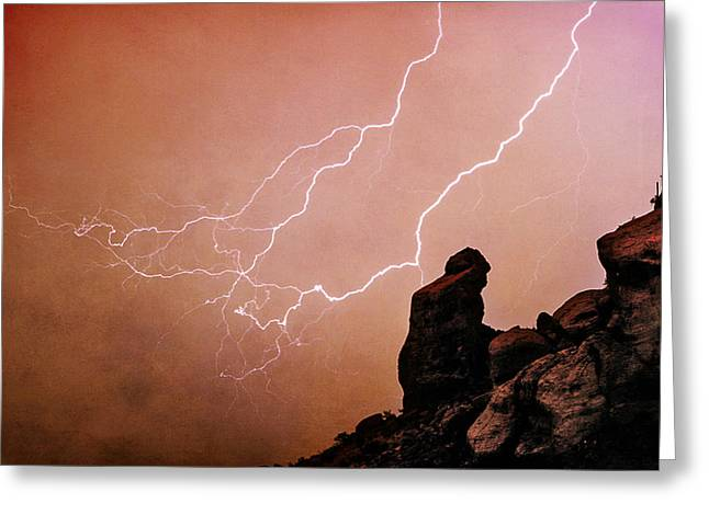 Arizona Lightning Greeting Cards - Praying Monk Camelback Mountain Lightning Monsoon Storm Image TX Greeting Card by James BO  Insogna