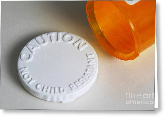 Pill Bottle Greeting Cards - Prescription Pill Bottle With Child Greeting Card by Photo Researchers, Inc.