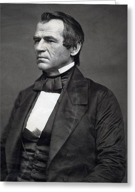 President Of America Greeting Cards - President Andrew Johnson Greeting Card by International  Images