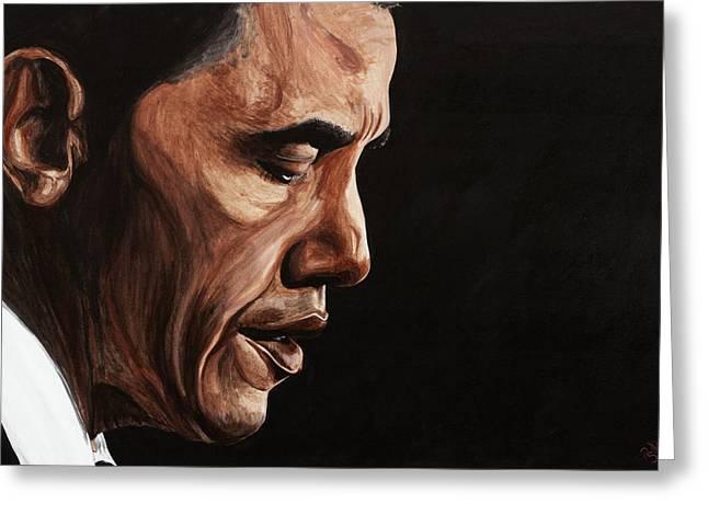 Barack Obama Greeting Cards - President Barack Obama Portrait Greeting Card by Patty Vicknair