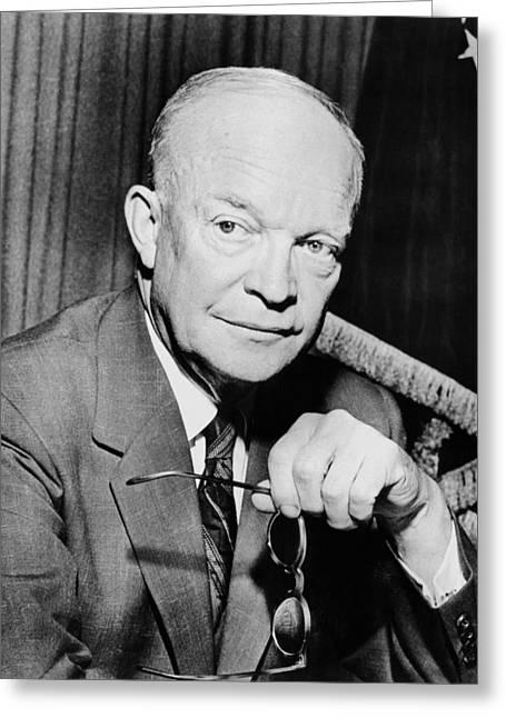 Dwight Eisenhower Greeting Cards - President Dwight Eisenhower  Greeting Card by War Is Hell Store