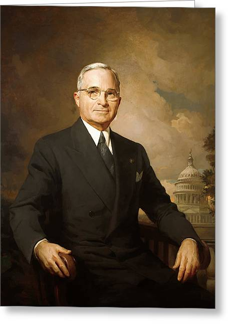 Ww1 Paintings Greeting Cards - President Harry Truman Greeting Card by War Is Hell Store