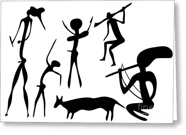 Primitive Drawings Greeting Cards - Primitive Art - Various Figures Greeting Card by Michal Boubin
