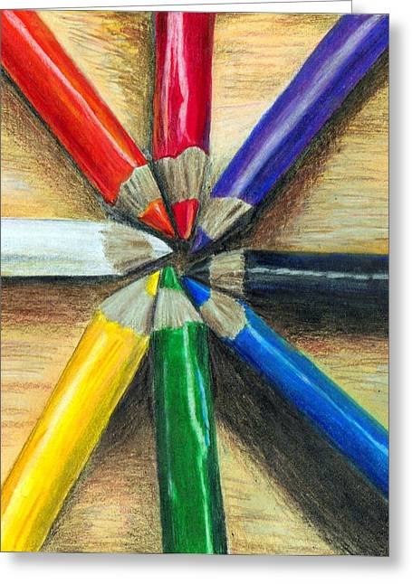 Prisma Colored Pencil Greeting Cards - Prisma Explosion Greeting Card by Sarah Stanaland