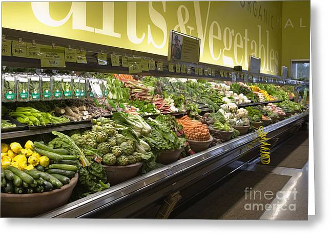 Grocery Store Greeting Cards - Produce Aisle Greeting Card by Andersen Ross