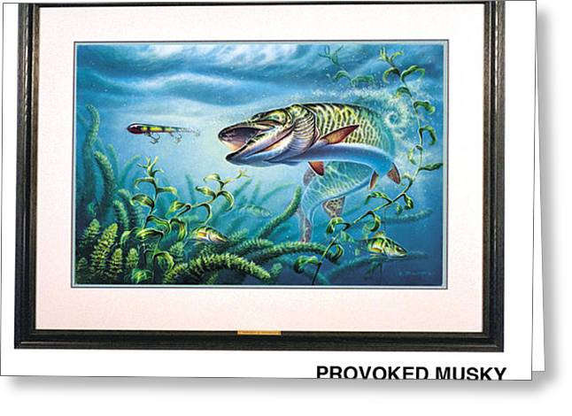 Bobber Greeting Cards - Provoked Musky Greeting Card by JQ Licensing