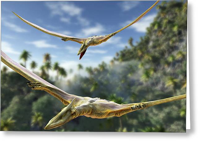 Pterosaur Greeting Cards - Pterosaurs Flying, Computer Artwork Greeting Card by Roger Harris