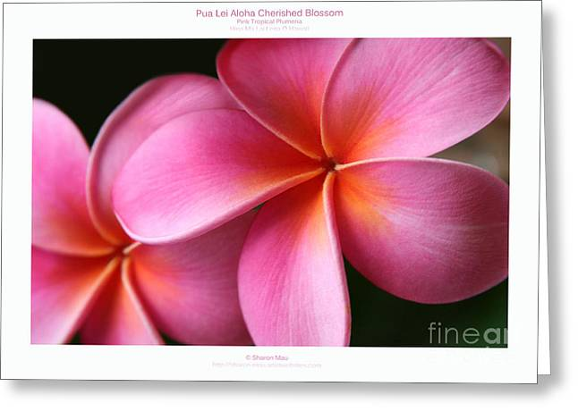 Pua Lei Aloha Cherished Blossom Pink Tropical Plumeria Hina Ma Lai Lena O Hawaii Greeting Card by Sharon Mau