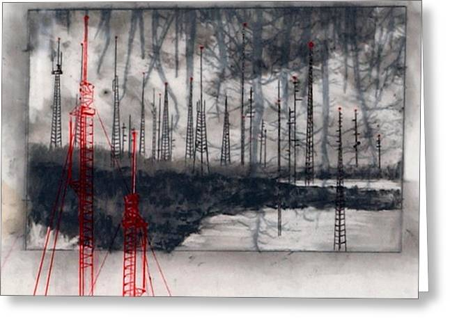 Transmission Drawings Greeting Cards - Pulling Pins Greeting Card by Beth Anne Martin