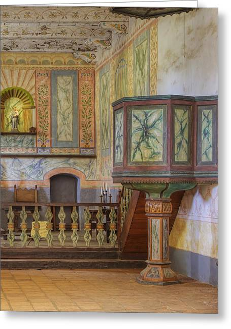 Product Photographs Greeting Cards - Pulpit In Chapel At Mission La Purisima Greeting Card by Douglas Orton