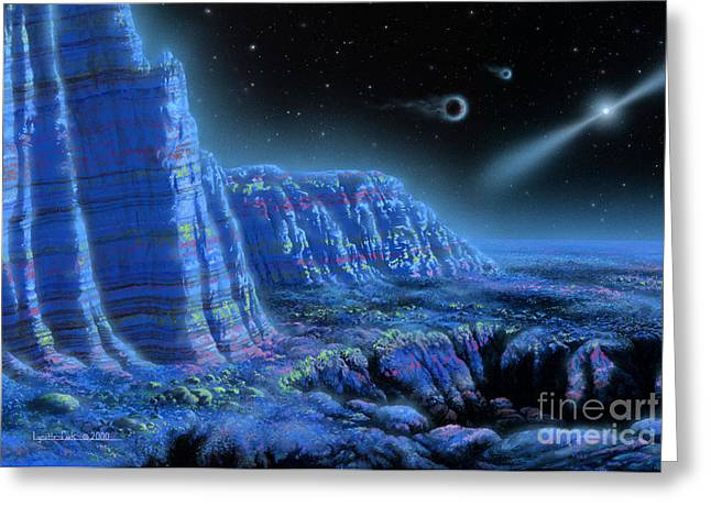Planetary System Paintings Greeting Cards - Pulsar Planets II Greeting Card by Lynette Cook