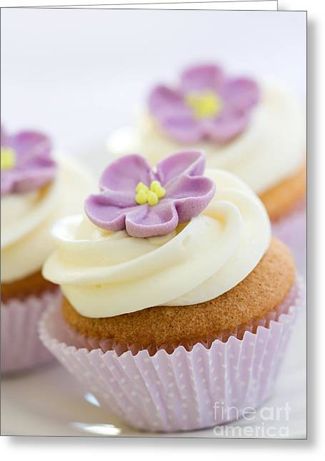 Tea Party Greeting Cards - Purple cupcakes Greeting Card by Ruth Black