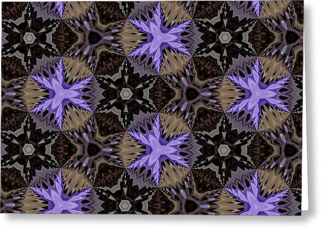 Geometric Style Greeting Cards - Purple Stars Greeting Card by Design Windmill