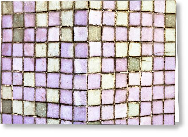 White Clay Greeting Cards - Purple tiles Greeting Card by Tom Gowanlock