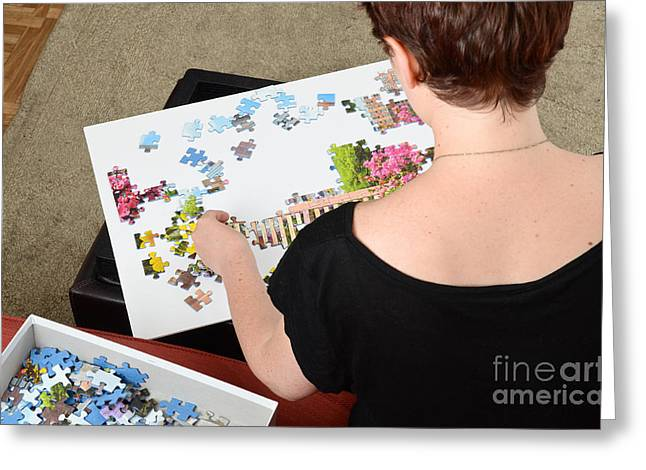 Discrimination Greeting Cards - Puzzle Therapy Greeting Card by Photo Researchers, Inc.