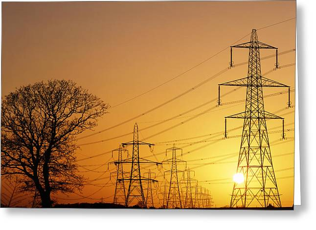 Transmission Greeting Cards - Pylons And Power Lines At Sunset Greeting Card by David Parker