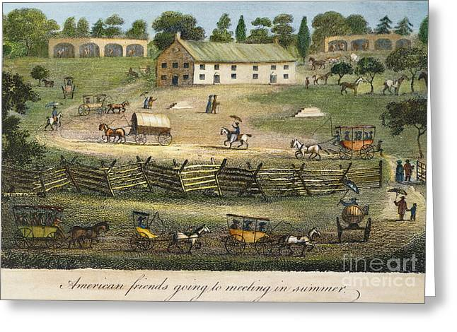 Quaker Greeting Cards - Quaker Meeting, 1811 Greeting Card by Granger