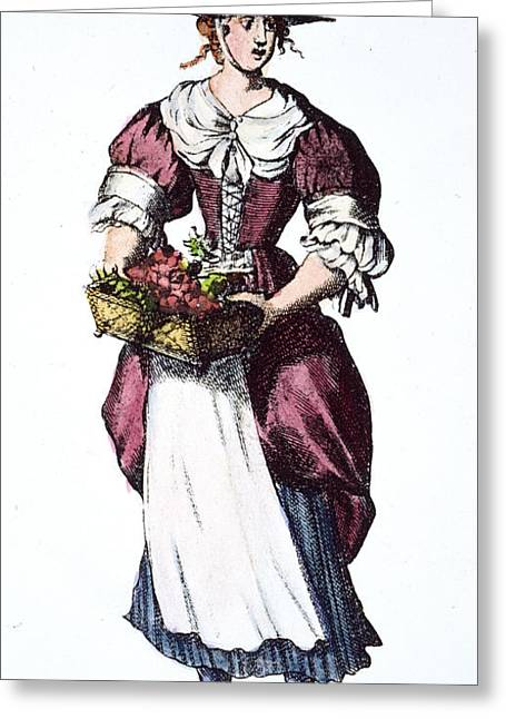 Quaker Hat Greeting Cards - QUAKER WOMAN 17th CENTURY Greeting Card by Granger