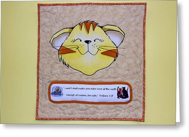 Except Greeting Cards - Quilted Cat  Greeting Card by Sally Weigand