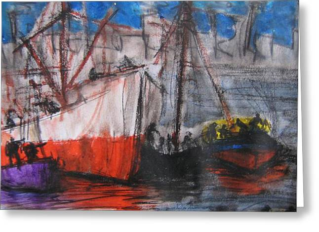 Sailing Ship Pastels Greeting Cards - Quinquela siempre Greeting Card by Romina Diaz-Brarda
