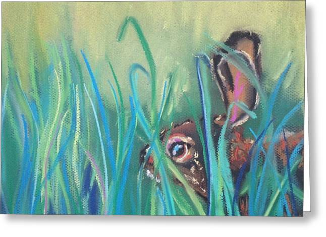 Rabbit Pastels Greeting Cards - Rabbit in Grass Greeting Card by Jen Saemann
