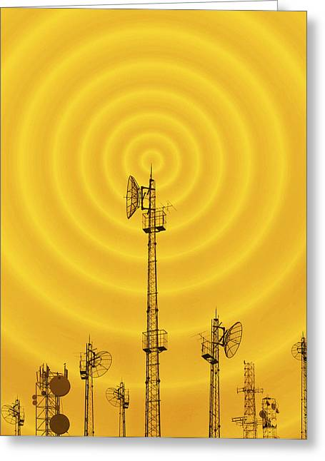 Technological Communication Greeting Cards - Radio Masts With Radio Waves Greeting Card by Mehau Kulyk