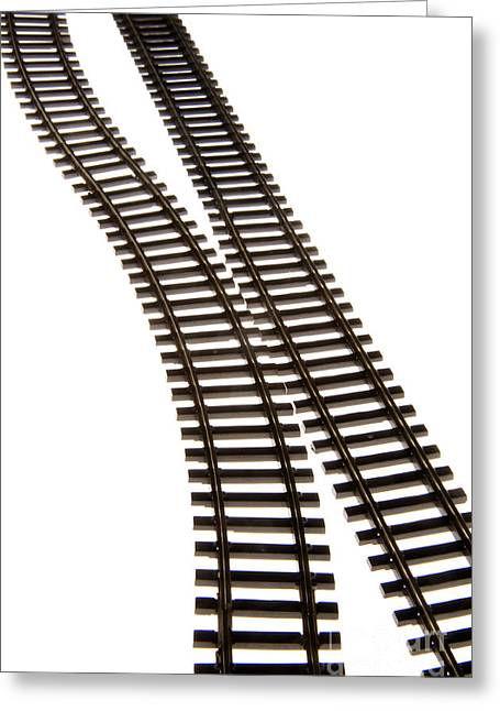 Cut-outs Greeting Cards - Railway tracks Greeting Card by Bernard Jaubert