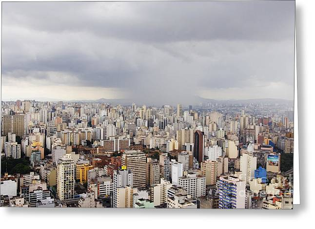 Office Space Photographs Greeting Cards - Rain Shower Approaching Downtown Sao Paulo Greeting Card by Jeremy Woodhouse