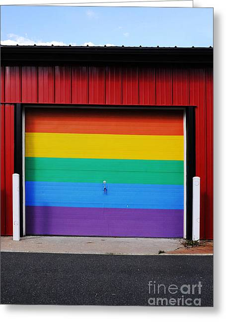 Queer Greeting Cards - Rainbow Garage Greeting Card by HD Connelly