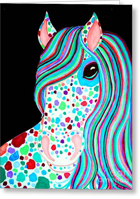 Spot Drawings Greeting Cards - Rainbow Spotted Horse Greeting Card by Nick Gustafson
