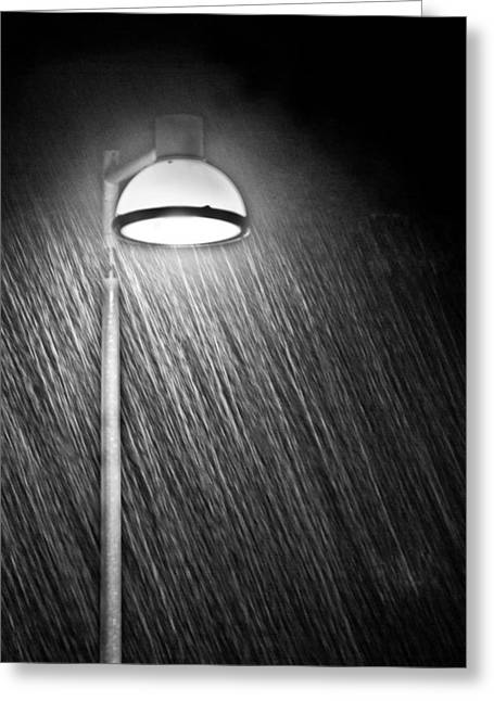 City Lights Greeting Cards - Rainy Night Greeting Card by Gert Lavsen