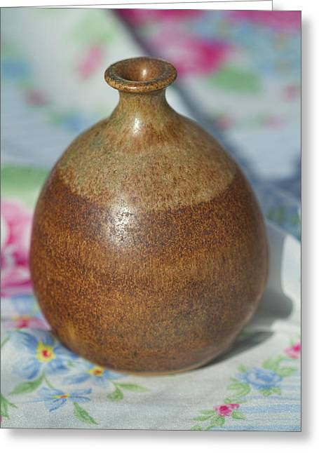 Recently Sold -  - Master Potter Greeting Cards - Rare John Regis Tuska Pottery Vase Greeting Card by Kathy Clark